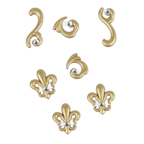 EK Success - Jolee's by You Redux - 3 Dimensional Embellishments with Gem Accents - Gold Flourish and Fleur De Lis