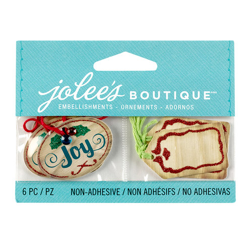 EK Success - Jolee's Boutique - Christmas - 3D Embellishments with Gem and Glitter Accents - Christmas Wood Tags