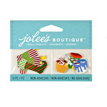 EK Success - Jolee's Boutique - Christmas - 3D Embellishments with Foil Accents - Colorful Stockings and Toys