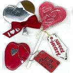 EK Success - Jolee's Boutique - Valentine - 3 Dimensional Stickers with Foil Accents - Heart Chocolate with Tags