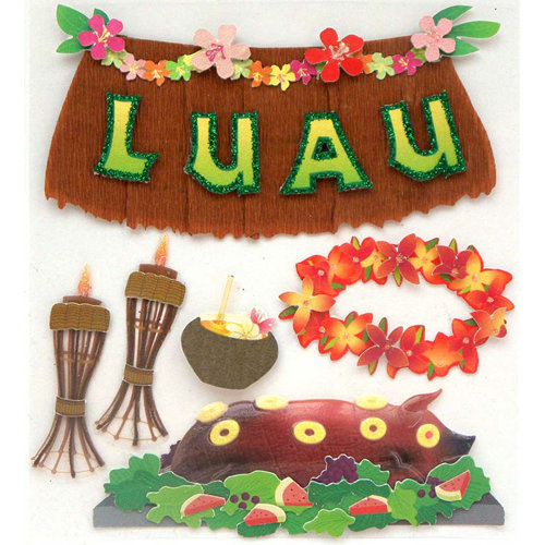 EK Success - Jolee's Boutique - 3 Dimensional Stickers with Glitter Accents - Luau