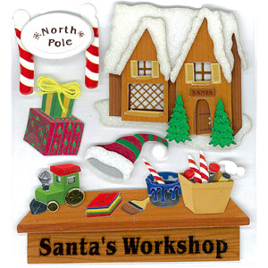EK Success - Jolee's Boutique - Christmas - 3 Dimensional Stickers with Glitter and Metallic Accents - Santa's Workshop