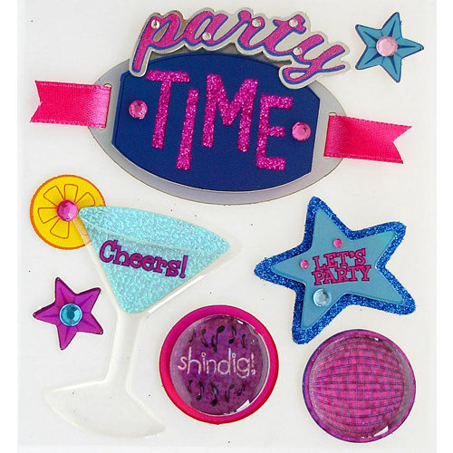 EK Success - Jolee's Boutique - 3 Dimensional Stickers with Epoxy Foil Gem and Glitter Accents - Party Time