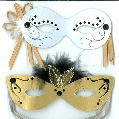EK Success - Jolee's Boutique - Parcel Refresh Collection - 3 Dimensional Stickers with Foil and Gem Accents - Antique Masks