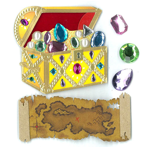 EK Success - Jolee's Boutique - Parcel Refresh Collection - 3 Dimensional Stickers with Foil and Gem Accents - Treasure Chest