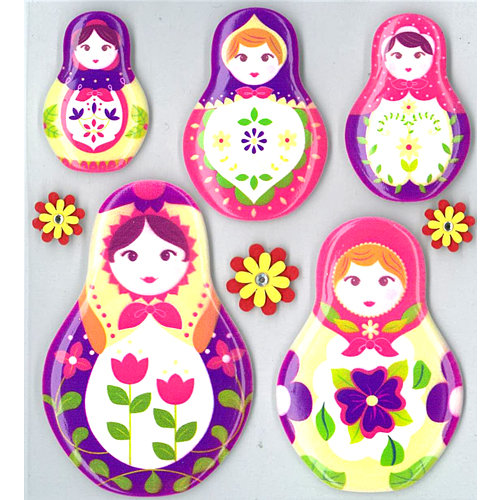 EK Success - Jolee's Boutique - Parcel Refresh Collection - 3 Dimensional Stickers with Gem Accents - Nesting Dolls