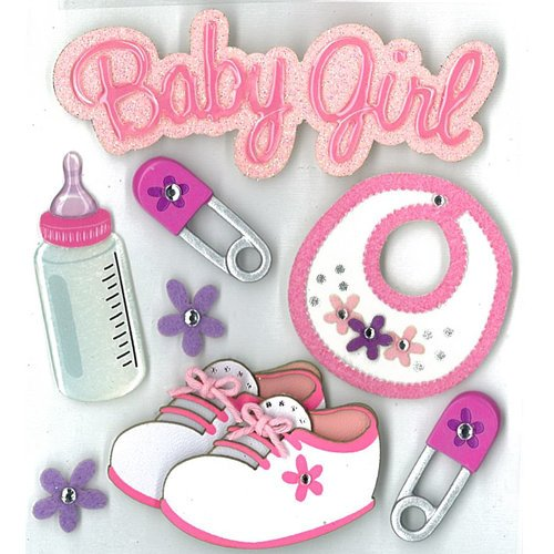 EK Success - Jolee's Boutique - 3 Dimensional Stickers with Epoxy Foil Gem and Glitter Accents - Baby Girl