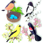 EK Success - Jolee's Boutique - 3 Dimensional Stickers with Glitter Accents - Spring Birds