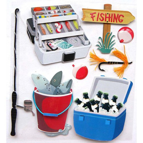 EK Success - Jolee's Boutique - 3 Dimensional Stickers with Epoxy and Foil Accents - Fishing