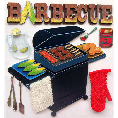 EK Success - Jolee's Boutique - 3 Dimensional Stickers with Epoxy Foil and Glitter Accents - Barbeque