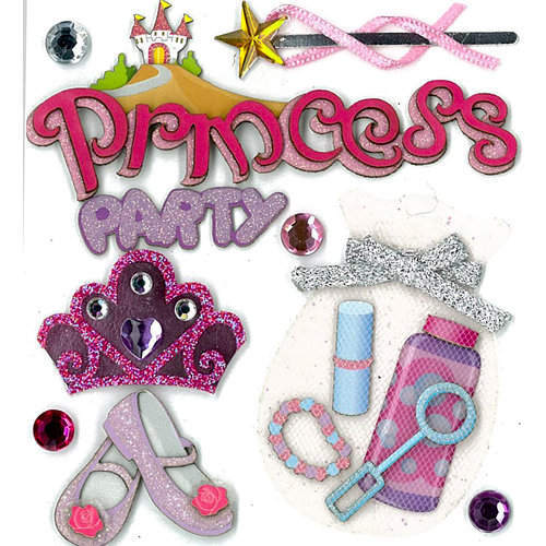EK Success - Jolee's Boutique - 3 Dimensional Stickers with Epoxy Foil Gem and Glitter Accents - Princess Party