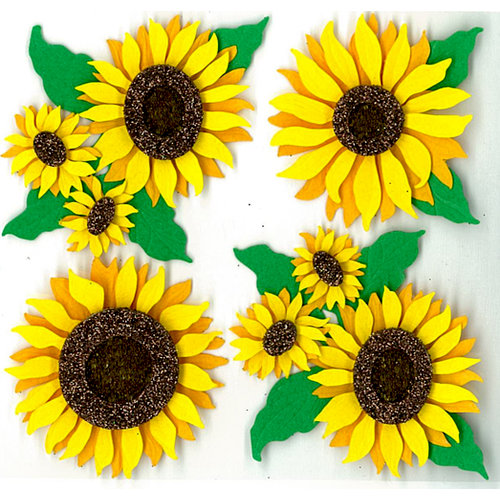 EK Success - Jolee's Boutique - 3 Dimensional Stickers with Glitter Accents - Sunflowers