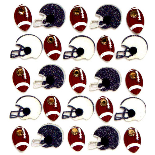 EK Success - Jolee's Boutique - 3 Dimensional Stickers with Gem and Glitter Accents - Football and Helmets Repeats