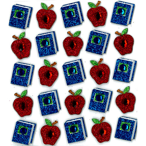 EK Success - Jolee's Boutique - 3 Dimensional Stickers with Gem and Glitter Accents - Books and Apples Repeats