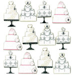 EK Success - Jolee's Boutique - 3 Dimensional Stickers with Foil Gem and Glitter Accents - Wedding Cake Repeats