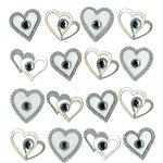 EK Success - Jolee's Boutique - 3 Dimensional Stickers with Gem and Glitter Accents - Wedding Hearts Repeats