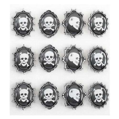 EK Success - Jolee's Boutique - Parcel Refresh Collection - Halloween - 3 Dimensional Stickers with Epoxy Accents - Skull Cameos