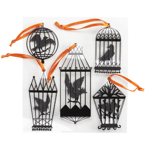 EK Success - Jolee's Boutique - Parcel Refresh Collection - Halloween - 3 Dimensional Stickers - Crows in Cages
