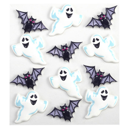 EK Success - Jolee's Boutique - Halloween - 3 Dimensional Stickers - Ghost and Bat Cabochons