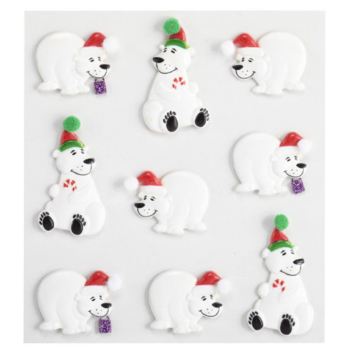 EK Success - Jolee's Boutique - Christmas - 3 Dimensional Stickers with Glitter Accents - Holiday Polar Bear Cabochons