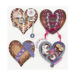 EK Success - Jolee's Boutique - Steampunk Collection - 3 Dimensional Stickers with Foil Gem and Glitter Accents - Hearts