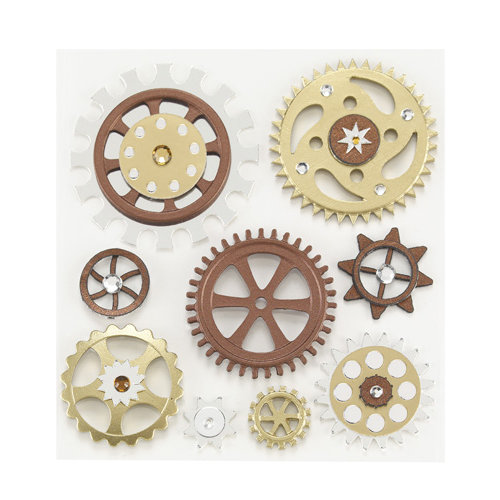 EK Success - Jolee's Boutique - Steampunk Collection - 3 Dimensional Stickers with Foil and Gem Accents - Gears