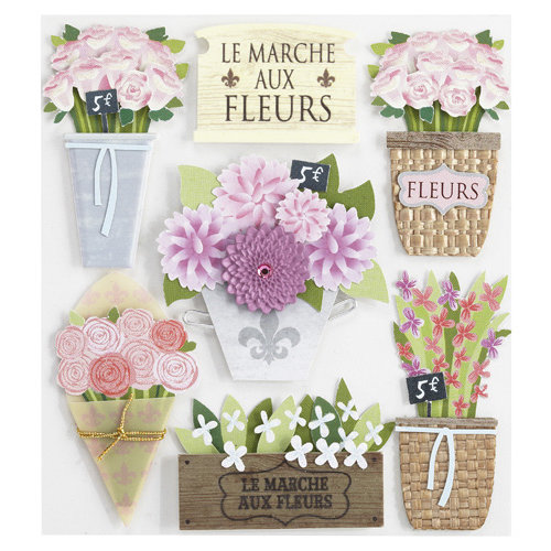 EK Success - Jolee's Boutique - Around the World Collection - 3 Dimensional Stickers with Gem and Glitter Accents - Flower Market