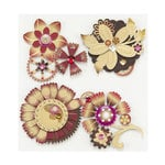 EK Success - Jolee's Boutique - Steampunk Collection - 3 Dimensional Stickers with Foil and Gem Accents - Flowers