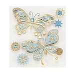 EK Success - Jolee's Boutique - Steampunk Collection - 3 Dimensional Stickers with Foil and Gem Accents - Butterflies