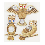 EK Success - Jolee's Boutique - Steampunk Collection - 3 Dimensional Stickers with Foil and Gem Accents - Owls