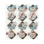 EK Success - Jolee's Boutique - Steampunk Collection - 3 Dimensional Stickers with Foil and Gem Accents - Bird Corners