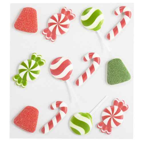 EK Success - Jolee's Boutique - Christmas - 3 Dimensional Stickers with Glitter Accents - Holiday Candies Cabochons