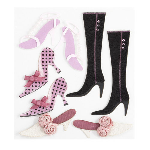 EK Success - Jolee's Boutique - Around the World Collection - 3 Dimensional Stickers with Epoxy and Gem Accents - Shoes and Boots