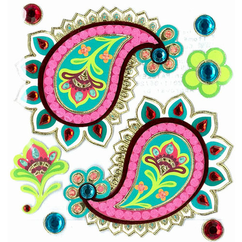 EK Success - Jolee's Boutique - Around the World Collection - 3 Dimensional Stickers with Foil and Gem Accents - Paisley Patches