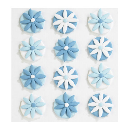 EK Success - Jolee's Boutique - Confections Collection - 3 Dimensional Stickers - Blue Fondant Flowers