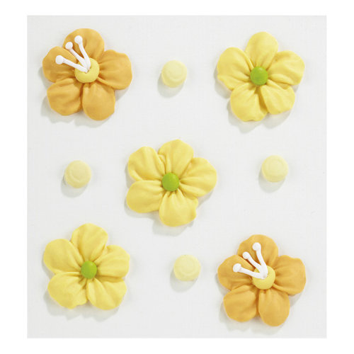 EK Success - Jolee's Boutique - Confections Collection - 3 Dimensional Stickers - Yellow and Orange Icing Flowers