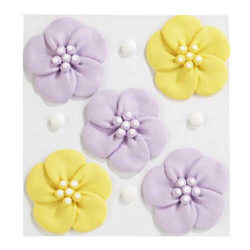 EK Success - Jolee's Boutique - Confections Collection - 3 Dimensional Stickers - Purple and Yellow Pansies Icing Flowers