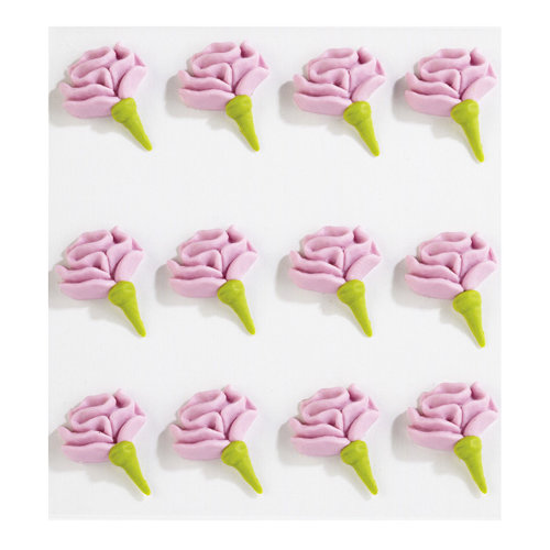EK Success - Jolee's Boutique - Confections Collection - 3 Dimensional Stickers - Pink Icing Rose Buds