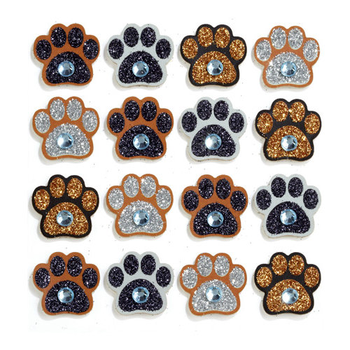 EK Success - Jolee's Boutique - 3 Dimensional Stickers with Gem and Glitter Accents - Paw Print Repeats