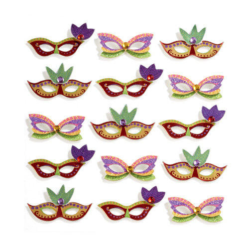 EK Success - Jolee's Boutique - 3 Dimensional Stickers with Foil Gem and Glitter Accents - Mardi Gras Masks Repeats