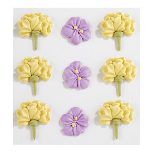 EK Success - Jolee's Boutique - Confections Collection - 3 Dimensional Stickers - Large Yellow and Purple Icing Flowers