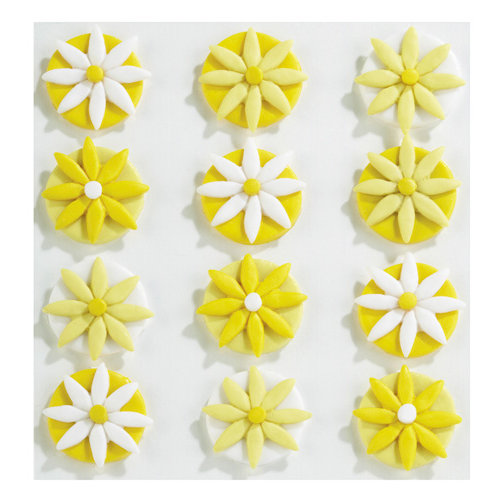 EK Success - Jolee's Boutique - Confections Collection - 3 Dimensional Stickers - Yellow Fondant Flowers