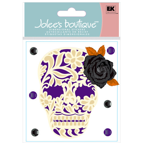 EK Success - Jolee's Boutique - Halloween Collection - 3 Dimensional Stickers with Foil Gem and Glitter Accents - Lacey Skull with Rose