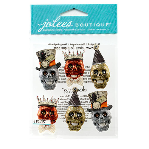 EK Success - Jolee's Boutique - Halloween 2013 Collection - 3D Stickers with Gem and Glitter Accents - Glitter Skulls