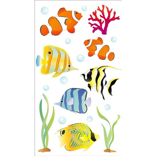 EK Success - Jolee's Boutique - 3 Dimensional Stickers with Epoxy and Glitter Accents - Vellum Tropical Fish