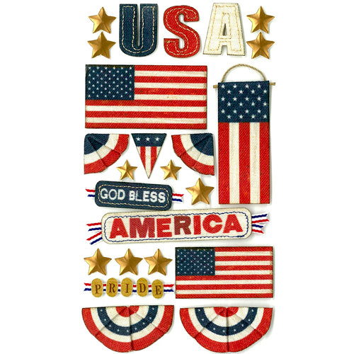 EK Success - Jolee's Boutique - 3 Dimensional Stickers with Foil Accents - God Bless America
