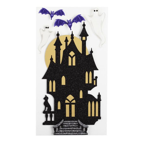 EK Success - Jolee's Boutique - Parcel Refresh Collection - Halloween - 3 Dimensional Stickers with Epoxy Foil and Glitter Accents - Haunted House