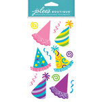 EK Success - Jolee's Boutique - Dress Ups Collection - 3 Dimensional Stickers with Foil and Glitter Accents - Bright Party Hats