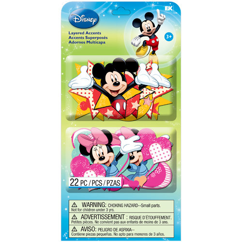 EK Success - Disney Collection - Mickey Family - Layered Accents with Glitter Accents