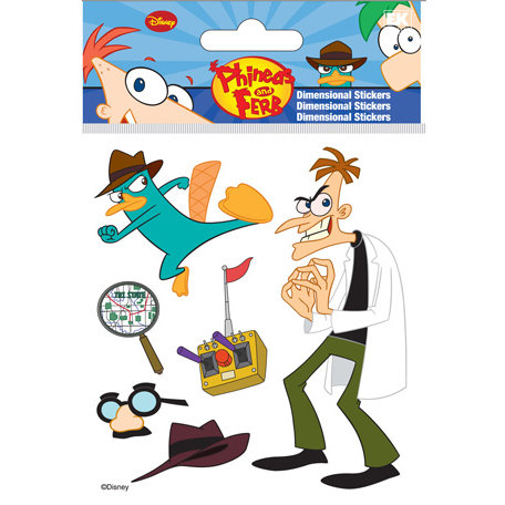 EK Success - Disney Collection - Phineas and Ferb - 3 Dimensional Stickers with Epoxy and Foil Accents - Agent P and Dr Doofenshmirtz